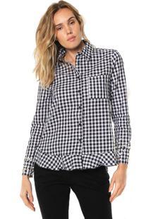 Camisa Lily Fashion Xadrez Vicky Preta/Branca