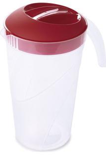 Jarra De Plástico Com Tampa Plasutil Vermelha 1,6L