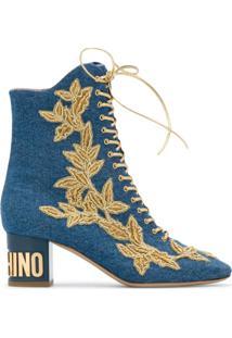 Moschino Bota Jeans Com Cadarço - Azul