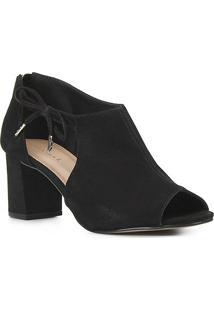 Sandal Boot Couro Shoestock Laço Salto Bloco Feminina - Feminino-Preto