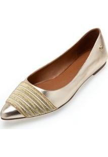 Sapatilha Bico Fino Elastico Metalico Dourado