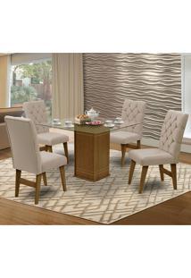 Mesa Para Sala De Jantar Saint Louis Com 4 Cadeiras – Dobuê Movelaria - Mell / Areia