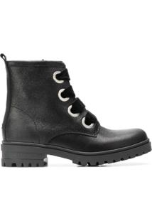 Tommy Jeans Ankle Boot De Couro E Camurça Com Cadarço - Preto