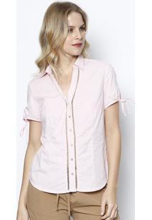 Camisa Com Entremeios - Rosa Claro & Off Whitevip Reserva