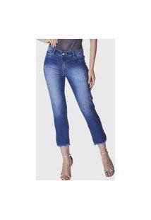 Calça Cropped Jeans Zuren Skinny Barra Desfiada Azul