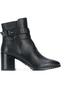 Tod'S Buckle Strap Ankle Boots - Preto