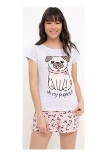 Pijama Manga Curta Estampa Pugs