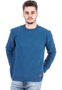 Blusa Tricot Malhas Carlan Decote Redondo Masculina - Masculino-Azul