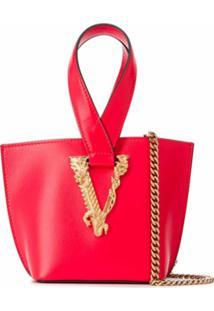Versace Bolsa Tote Vlogo Pequena - Vermelho