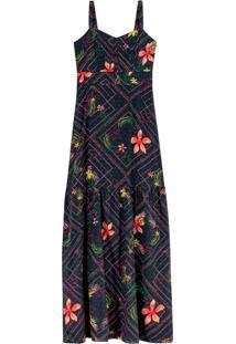 Vestido Preto Longo Floral Em Algodão