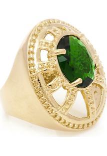 Anel Banhado A Ouro Oval Com Cristal - Feminino-Verde