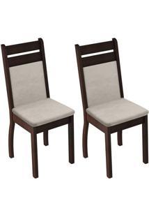 Kit 2 Cadeiras Leila Rustic E Tecido Pérola Madesa