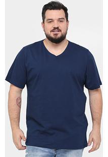 Camiseta Kohmar Plus Size Gola V Básica Masculina - Masculino-Marinho