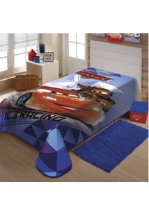Cobertor Infantil Malha Carros Poliéster Jolitex 1,50Mx2,00M Azul