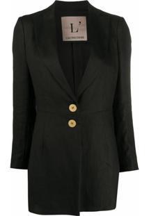 L'Autre Chose Blazer Com Abotoamento Simples De Linho - Preto