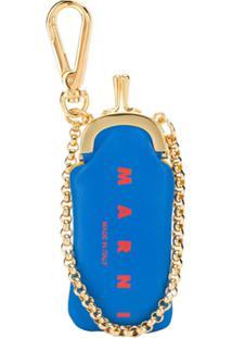 Marni Porta-Moedas Micro Com Logo - Azul