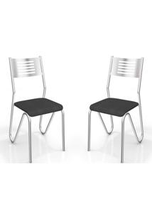Kit 2 Cadeiras Nápolis Cromada Preto Kappesberg