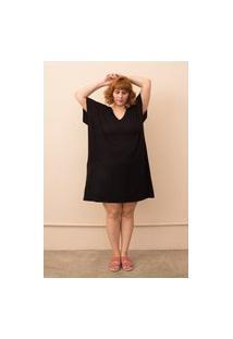 Vestido Recorte Diagonal Duas Texturas Plus Size Pretoúnico