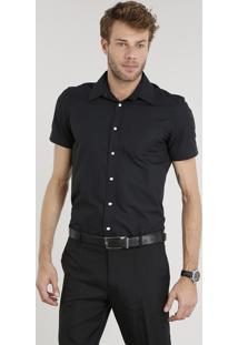 Camisa Masculina Comfort Manga Curta Preta