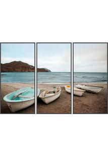 Conjunto Com 3 Quadros Decorativos Beach Preto