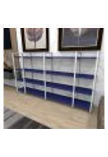 Aparador Industrial Aço Branco 180X30X98Cm (C)X(L)X(A) Mdf Azul Modelo Ind57Azapr