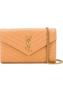 Saint Laurent Monogram Wallet In Chain - Marrom