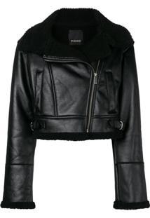 Pinko Cropped Biker Jacket - Preto