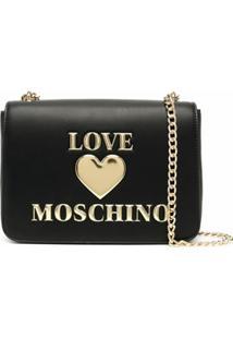 Love Moschino Bolsa Tiracolo Com Placa De Coração - Preto