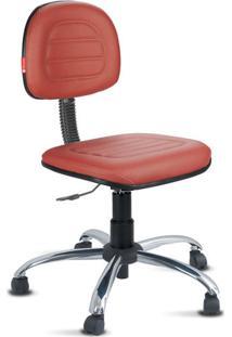 Cadeira Secretária Costura Cromada Courvin Vermelho