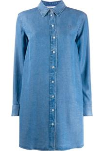 Calvin Klein Jeans Logo Embroidered Side Slit Shirt Dress - Azul