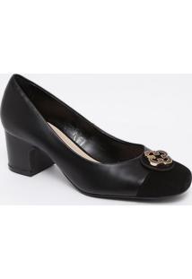Sapato Tradicional Em Couro Com Recorte - Preto- Salcapodarte