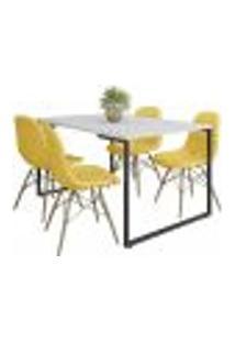 Mesa De Jantar Rivera Branco F01 Com 04 Cadeiras Eiffel Charles Eames Botonê Amarelo - Lyam Decor