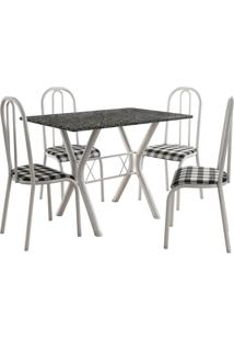 Conjunto De Mesa Miami 4 Cadeiras Branco/Xadrez Fabone Móveis Tubulares