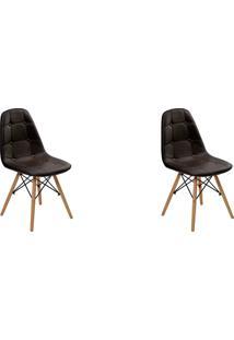 Kit 02 Cadeiras Eiffel Botone S/ Braço Marrom Rivatti