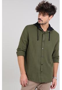 Camisa Masculina Com Capuz Removível Manga Longa Verde Militar