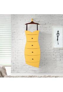 Cômoda Vestido 4 Gavetas Em Madeira Maciça/Mdf - Cacau/ Laca Amarelo