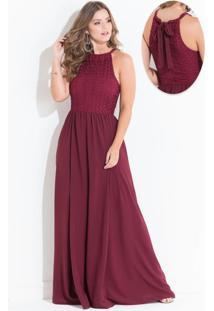 Vestido Com Renda E Amarração Quintess Bordô