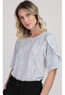 Blusa Feminina Com Estampa Poá Decote Redondo Manga Curta Off White