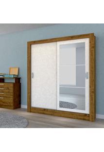 Guarda Roupa Casal Com Espelho 2 Portas 2 Gavetas Bavária Atualle Móveis Canelato Rústico/Natura Brilho