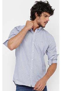 Camisa Lacoste Listras Poá Slim Fit Masculina - Masculino
