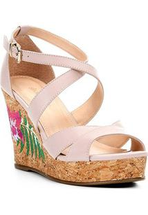 Sandália Plataforma Couro Shoestock Bordado Floral Feminina