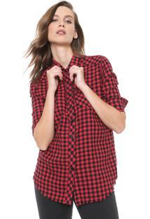 Camisa John John Reta Jam Vermelha/Preta