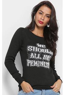 Tricô Fast Glam Feminino Suéter Tricot We Should All Be Feminist - Feminino-Preto