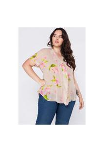 Camisa Almaria Plus Size Givy Floral Bege