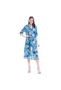 Vestido 101 Resort Wear Chemise Midi Evase Crepe Estampado Azul