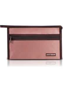 Necessaire Envelope Em Tecido Grande Jacki Desihn Essencial Iii Rosa - Kanui