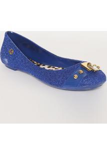 Sapatilha Brilhosa Com Tag- Azul Escuro & Douradacarmen Steffens
