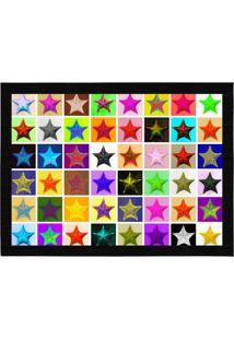 Capacho - Tapete Colours Creative Photo Decor - Estrelas Coloridas Branco