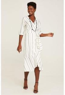 Vestido Midi Transpasse Listras Rubinella Feminino - Feminino-Branco+Preto