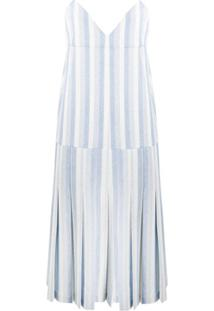 Jil Sander Vestido Listrado De Tricô - Azul